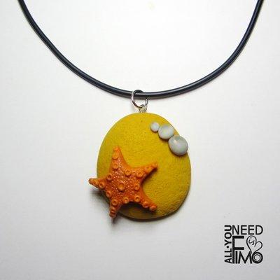Ciondolo mare|ciondolo stella marina|collana mare|ciondolo sabbia|collana mare|stella marina fimo|ciondolo mare fimo|collana estate
