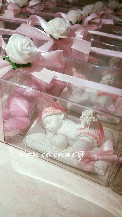 Bomboniera battesimo,nascita gessetto profumato bimba scatola pvc +confetti