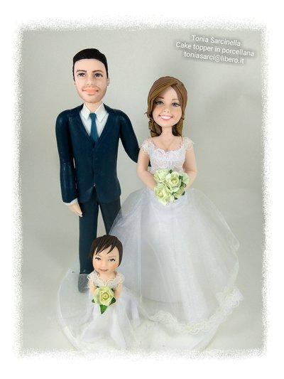 Cake topper personalizzati sposi con bimba