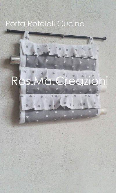 Porta Rotoli da Cucina con 3 scomparti in stoffa con cuori Fatto a Mano