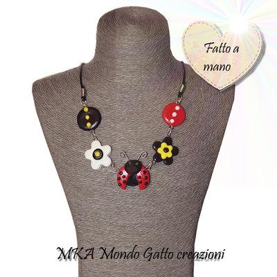 Collana in Fimo e cordoncino - Ladybug