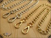 Catena per borsa, lunga cm.160 x mm.12 disponibile in 7 misure e 2 colori oro e argento