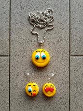 Collana + orecchini pendenti con Smile macarons fimo