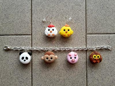 """Orecchini pendenti + braccialetto """"animals macarons"""" fimo"""