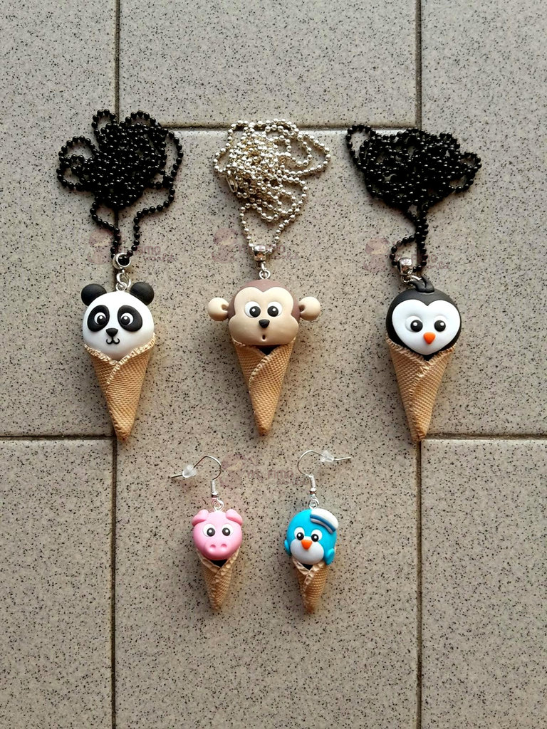 Collane + orecchini pendenti con animaletti gelatosi fimo