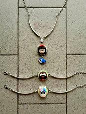 Collana e braccialetti rigidi con mini cammeo fimo