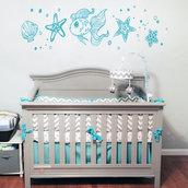 Adesivo murale pesciolini-stelle marine per camerette bambini