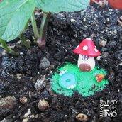Miniatura giardino|casetta fungo|decorazione vasi|fungo fimo|miniatura fimo|giardino stagno|giardino fimo|decorazione casa|giardino fantasia