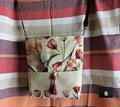 borsa a tracolla regolabile tulipani