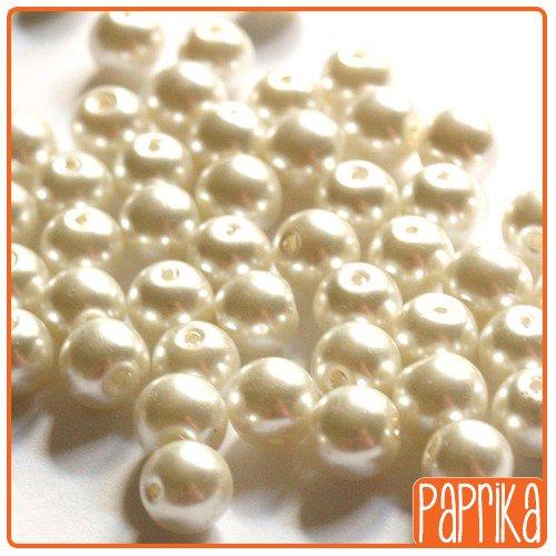 10 Perle Vetro Cerato 8mm bianco crema