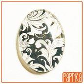 Cabochon ovale di vetro 18x25mm fantasia damascato