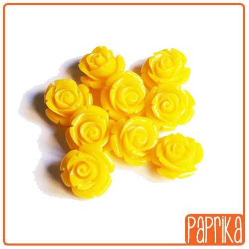 2 Perline Rose forate 10mm Giallo