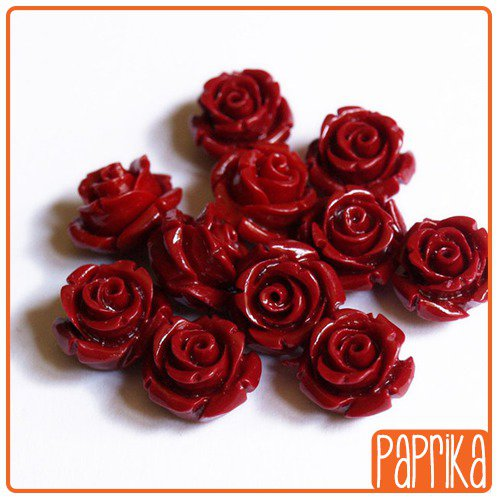 Perlina Rosa forata 12mm Rosso