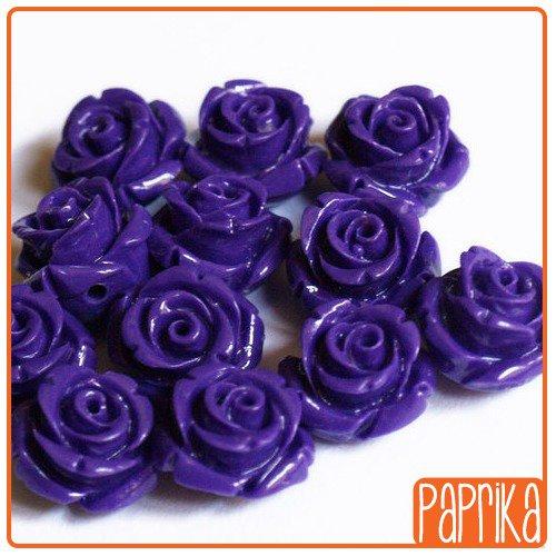Perlina Rosa forata 12mm Viola Scuro