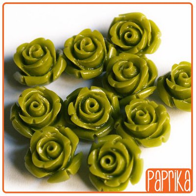 Perlina Rosa forata 12mm Verde Oliva
