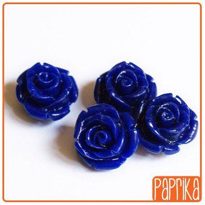 Perlina Rosa forata 12mm Blu