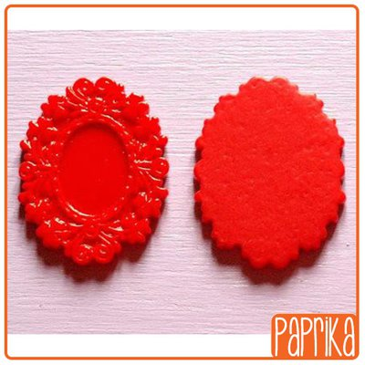 Base cameo in resina 18x25mm ROSSO
