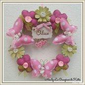 Fiocco nascita con fiori e farfalle