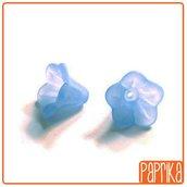 """20 Perline Acriliche fiore a Campanella - Azzurro """"Carta da Zucchero"""""""