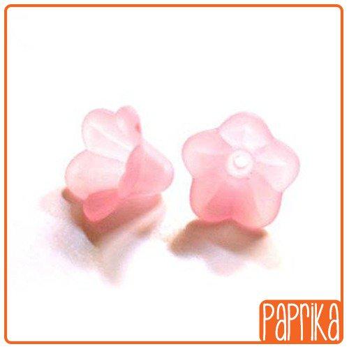 20 Perline Acriliche fiore a Campanella - Rosa