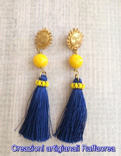 Orecchini pendenti blu Egeo