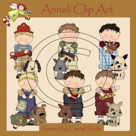 Clip Art per Decoupage e Scrapbooking - Bimbo con cagnolino - Boy with Dog - IMMAGINI