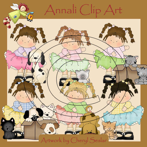Clip Art per Decoupage e Scrapbooking - Bimba con Gatto - Girl with Cat - IMMAGINI