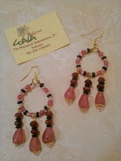 Orecchini chandelier fucsia e viola