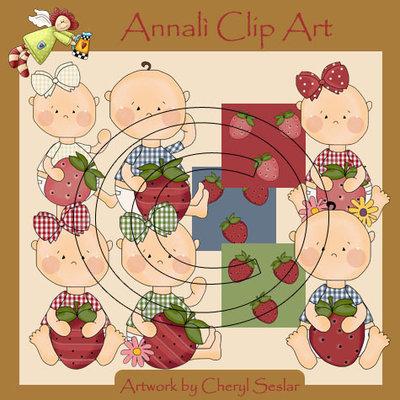 Clip Art per Decoupage e Scrapbooking - Bimbi con fragola - Baby with Strawberry - IMMAGINI