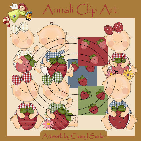 Clip Art per Decoupage e Scrapbooking - Bimbi con fragola - Baby with Strawberry - IMMAGINI