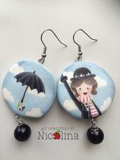 Orecchini C'era una volta ... Mary Poppins e ombrello su to di con perla in resina colore nero