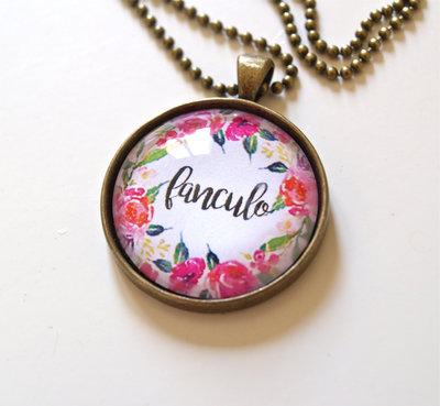 """Collana ciondolo floreale """"Fanculo"""" #2"""