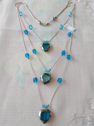 collana a 3 giri con catena e perline, cuore blu