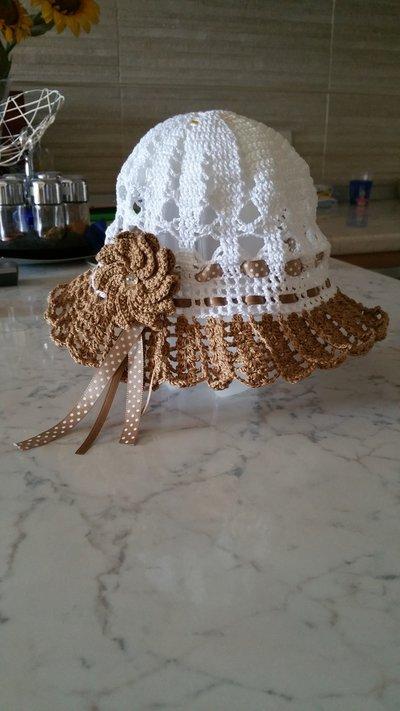 Cappello bimba in cotone con fiore 3D