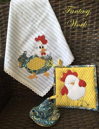 Asciughino e presine coordinate con gallina e pulcino
