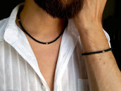 Collana uomo Onice Nero opaco con dettagli in acciaio inox. Collana uomo sottile. Idea regalo, fatto a mano.