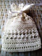 Sacchetto portasapone all'uncinetto - bomboniera fatta a mano