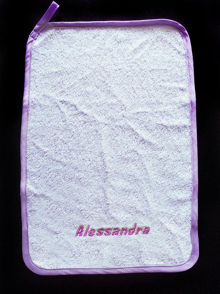 Set asilo asciugamano asciughino salvietta ricamo nome bimbo bimba personalizzato