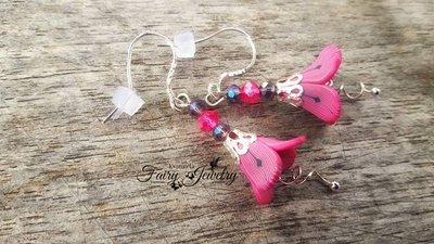 Orecchini fimo campanella fiore fucsia viola anallergici pendenti