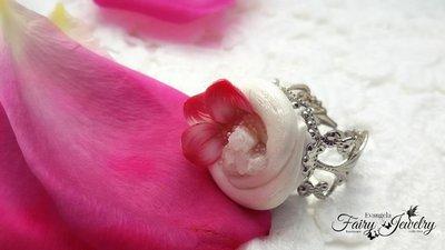 Anello geode naturale pietre dure fimo pasta polimerica cernit petali fiore