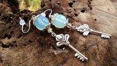 Orecchini con opale sfaccettato ciondolo chiavi monachelle argento 925 anallergici pendenti