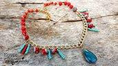 Collana Egypt alluminio dorata perline toho lampwork rosso turchese egitto