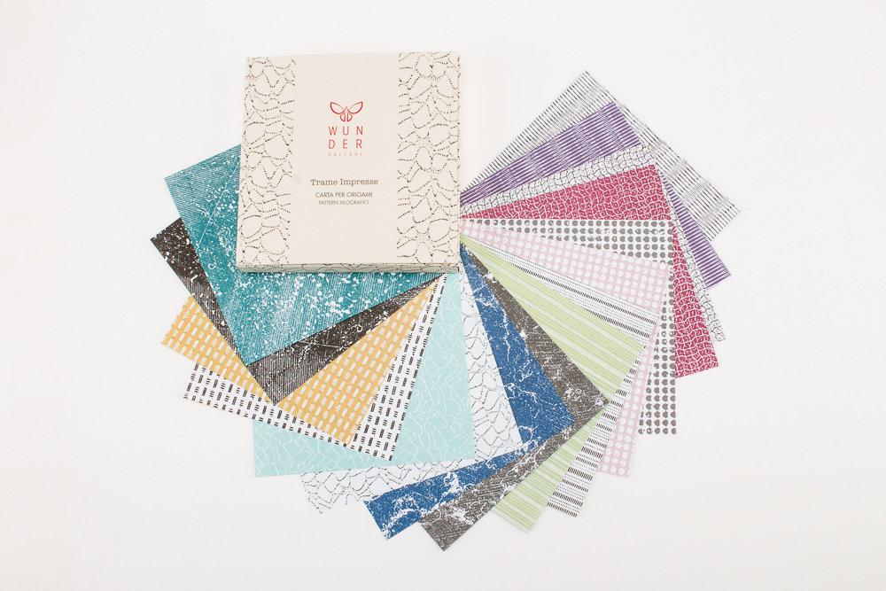 Trame Impresse | carta per origami | pattern xilografici