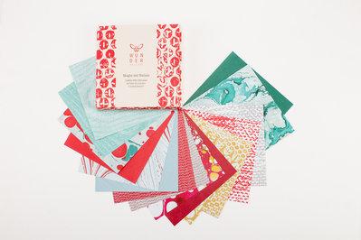 Magie del Natale | carta per origami | pattern xilografici e marmorizzati
