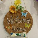 """targa fuoriporta in sughero """"welcome home"""""""