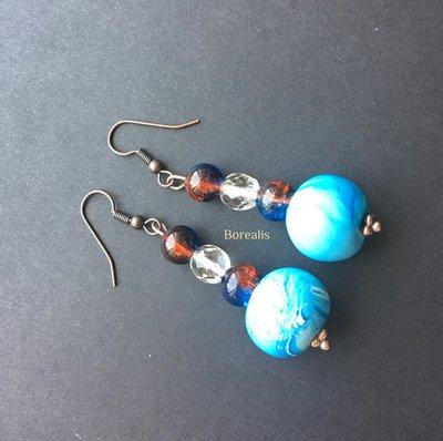 Orecchini Pendenti Anallergici Azzurri Argilla Polimerica Cristalli di Boemia Vetro