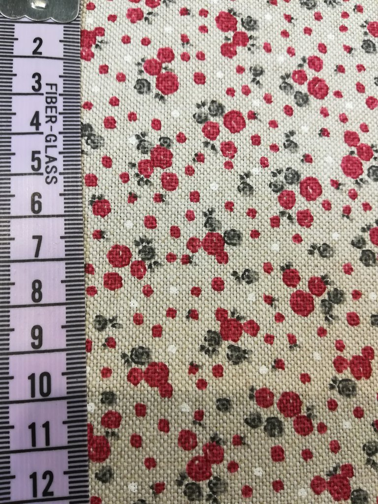 "Tessuto panama ""medioevale"" roselline rosse 50x140 cm"
