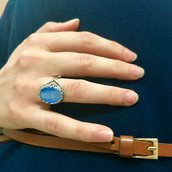 Anello Cabochon Ovale - Azzurro