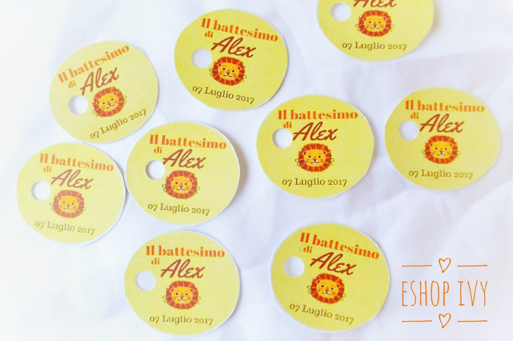 Confezione 15 Bigliettini tondi personalizzati per battesimo compleanno comunione nascita cresima laurea matrimonio bomboniere
