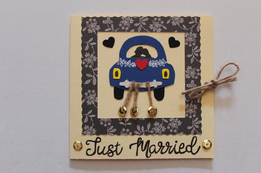 Biglietto Auguri Matrimonio- Macchina degli Sposi